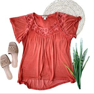 One World Orange Lace Detail Flowy Blouse Size L